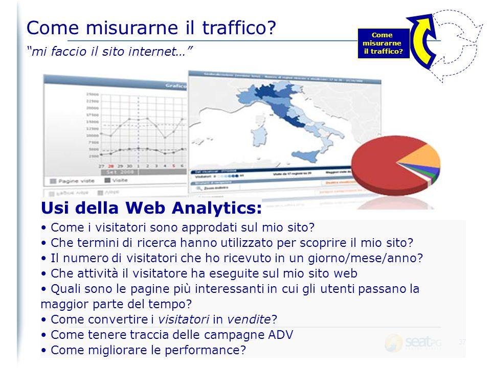 03/02/2014 36 Scegliere lo strumento corretto di webanalytics Scegliere cosa misurare Implementare i rilevatori nelle pagine La misura del traffico di un sito web non è una cosa semplice: Come misurarne il traffico.