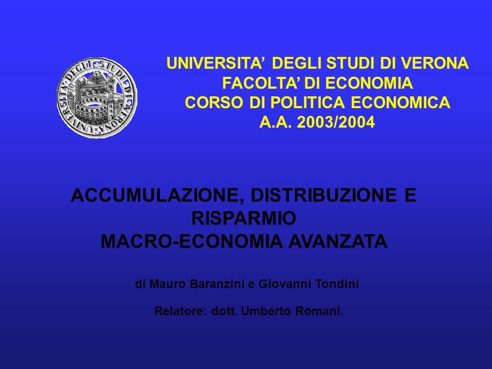 UNIVERSITA DEGLI STUDI DI VERONA FACOLTA DI ECONOMIA CORSO DI POLITICA ECONOMICA A.A. 2003/2004 ACCUMULAZIONE, DISTRIBUZIONE E RISPARMIO MACRO-ECONOMI