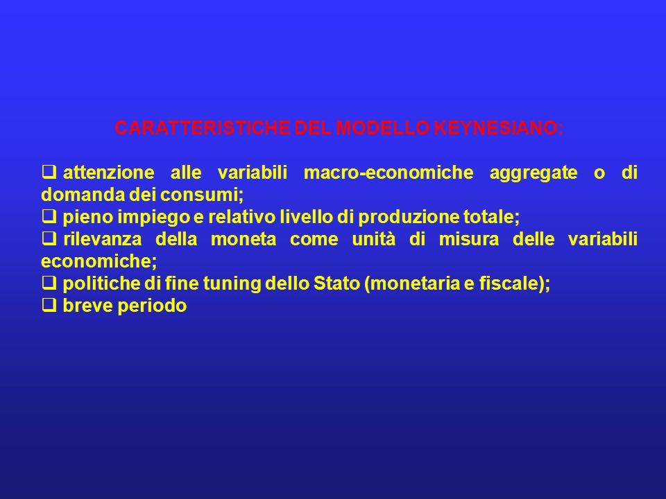 CARATTERISTICHE DEL MODELLO KEYNESIANO: attenzione alle variabili macro-economiche aggregate o di domanda dei consumi; pieno impiego e relativo livell