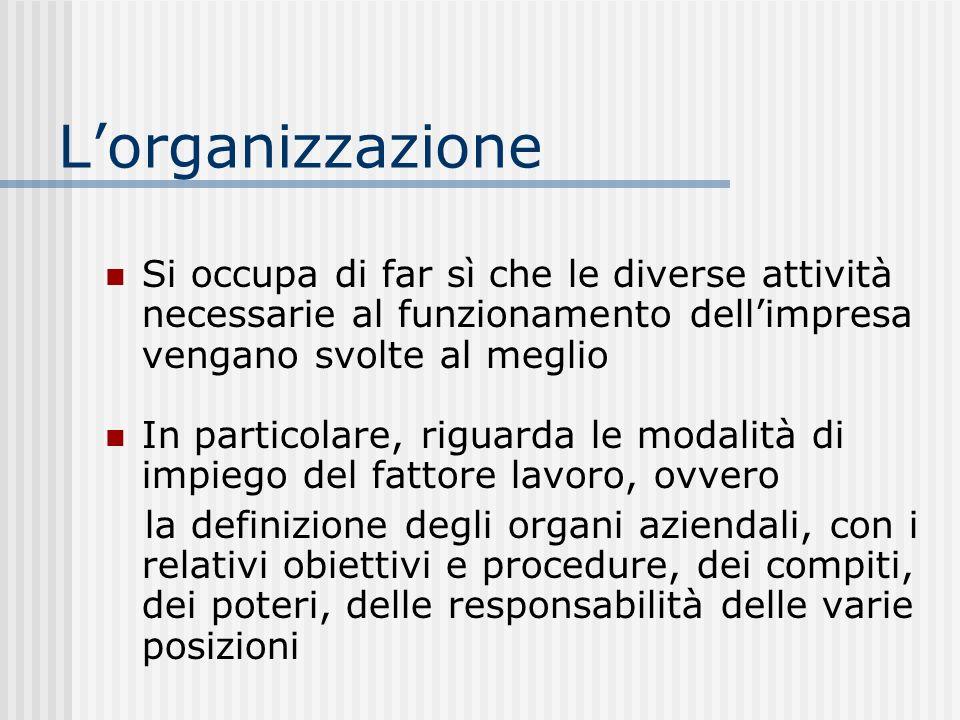 Lorganizzazione Si occupa di far sì che le diverse attività necessarie al funzionamento dellimpresa vengano svolte al meglio In particolare, riguarda le modalità di impiego del fattore lavoro, ovvero la definizione degli organi aziendali, con i relativi obiettivi e procedure, dei compiti, dei poteri, delle responsabilità delle varie posizioni