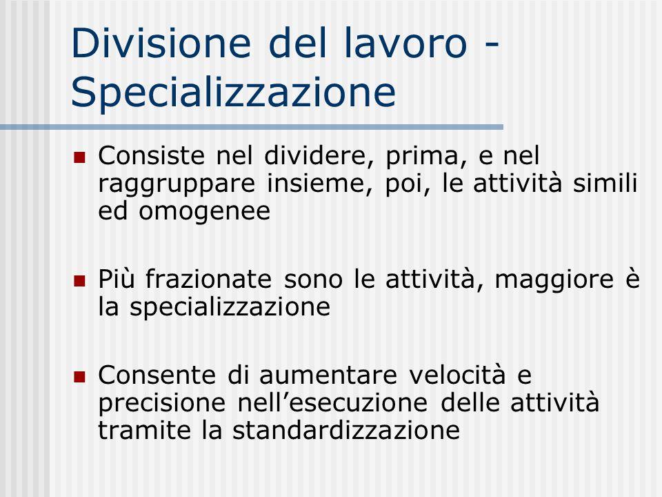 Divisione del lavoro - Specializzazione Consiste nel dividere, prima, e nel raggruppare insieme, poi, le attività simili ed omogenee Più frazionate so