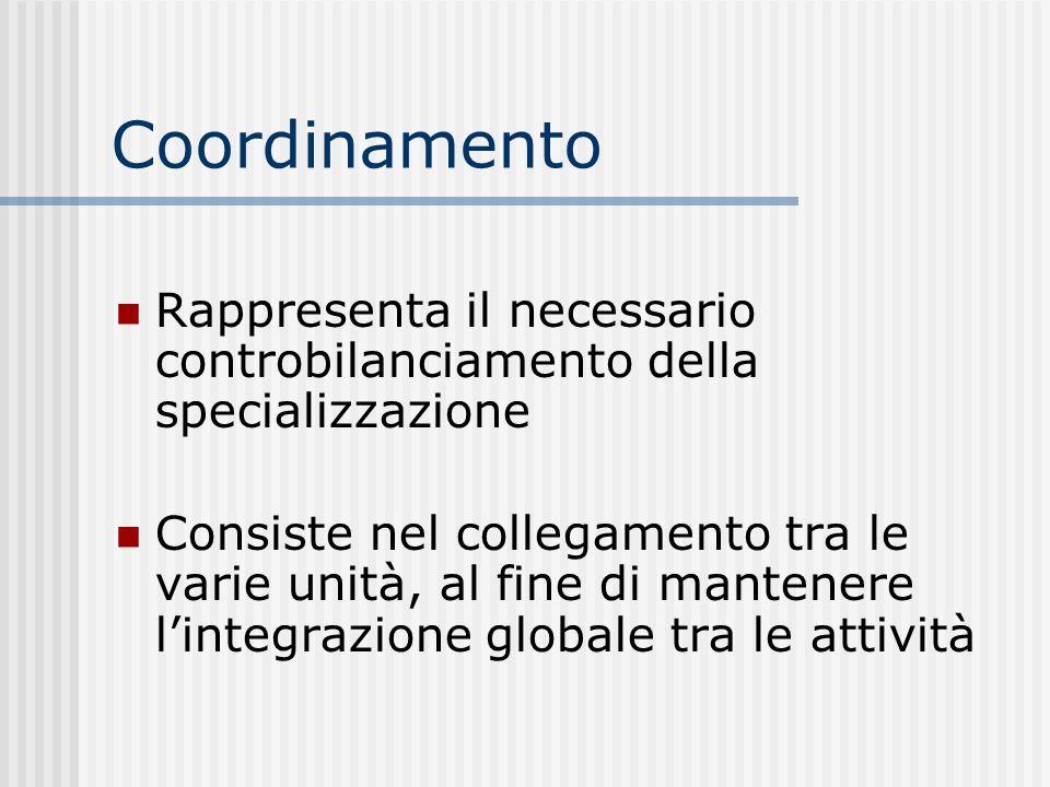 Coordinamento Rappresenta il necessario controbilanciamento della specializzazione Consiste nel collegamento tra le varie unità, al fine di mantenere