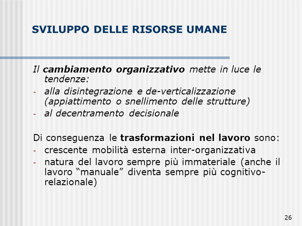 26 SVILUPPO DELLE RISORSE UMANE Il cambiamento organizzativo mette in luce le tendenze: - alla disintegrazione e de-verticalizzazione (appiattimento o