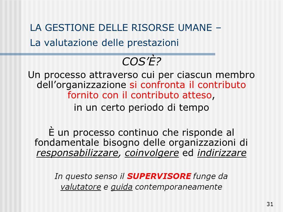 31 LA GESTIONE DELLE RISORSE UMANE – La valutazione delle prestazioni COSÈ.