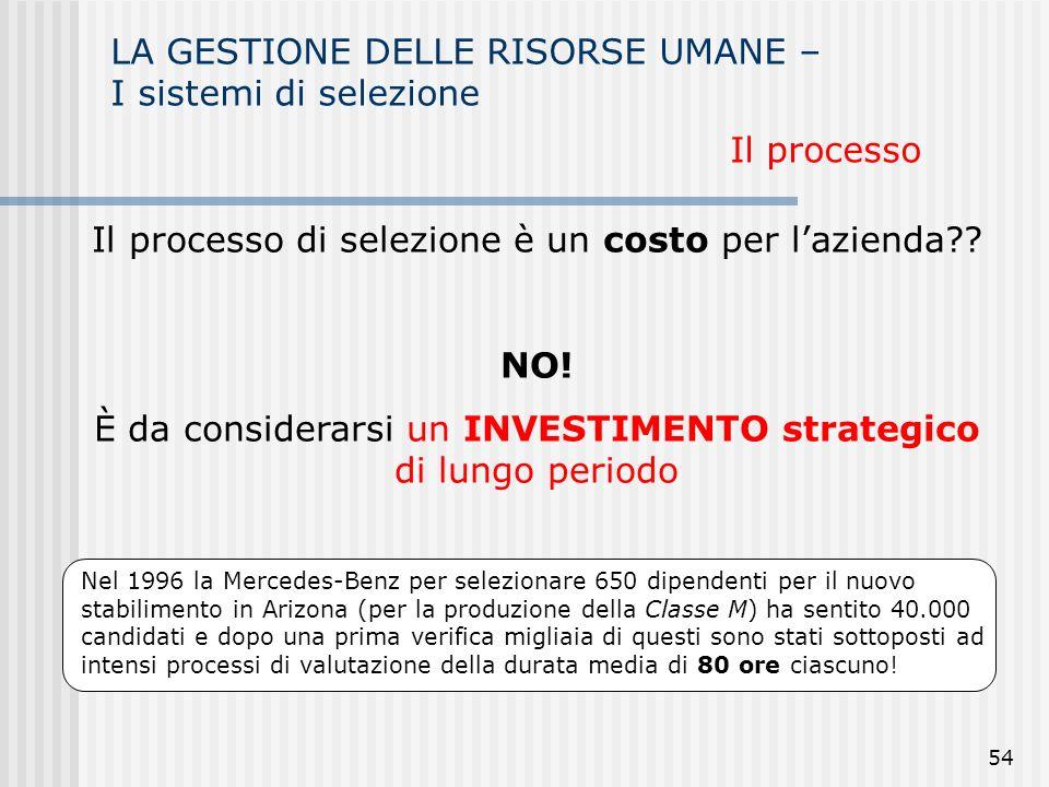 54 LA GESTIONE DELLE RISORSE UMANE – I sistemi di selezione Il processo Il processo di selezione è un costo per lazienda?.