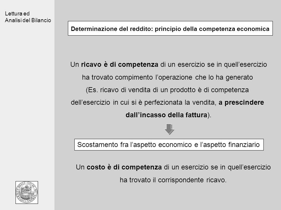 Lettura ed Analisi del Bilancio Determinazione del reddito: principio della competenza economica Un ricavo è di competenza di un esercizio se in quell