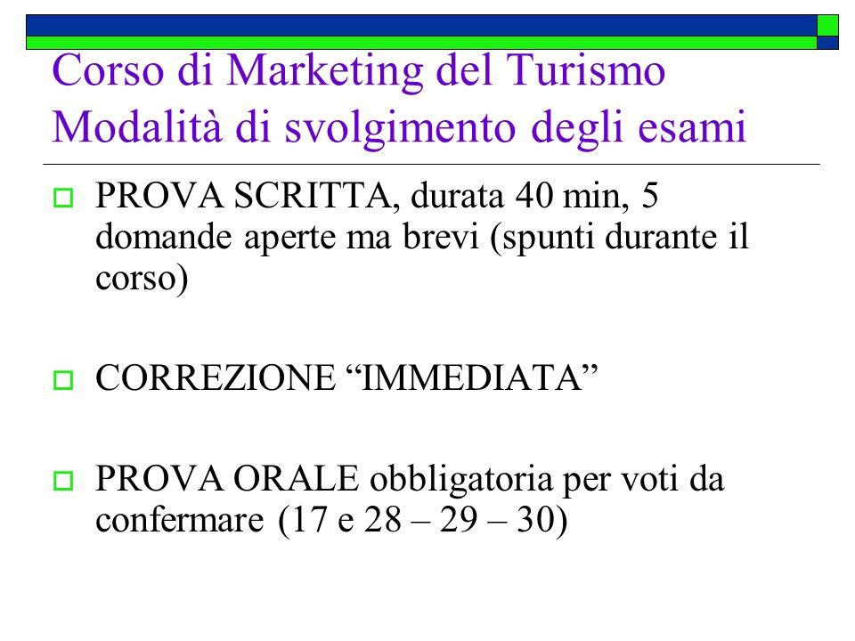 Corso di Marketing del Turismo Modalità di svolgimento degli esami PROVA SCRITTA, durata 40 min, 5 domande aperte ma brevi (spunti durante il corso) C