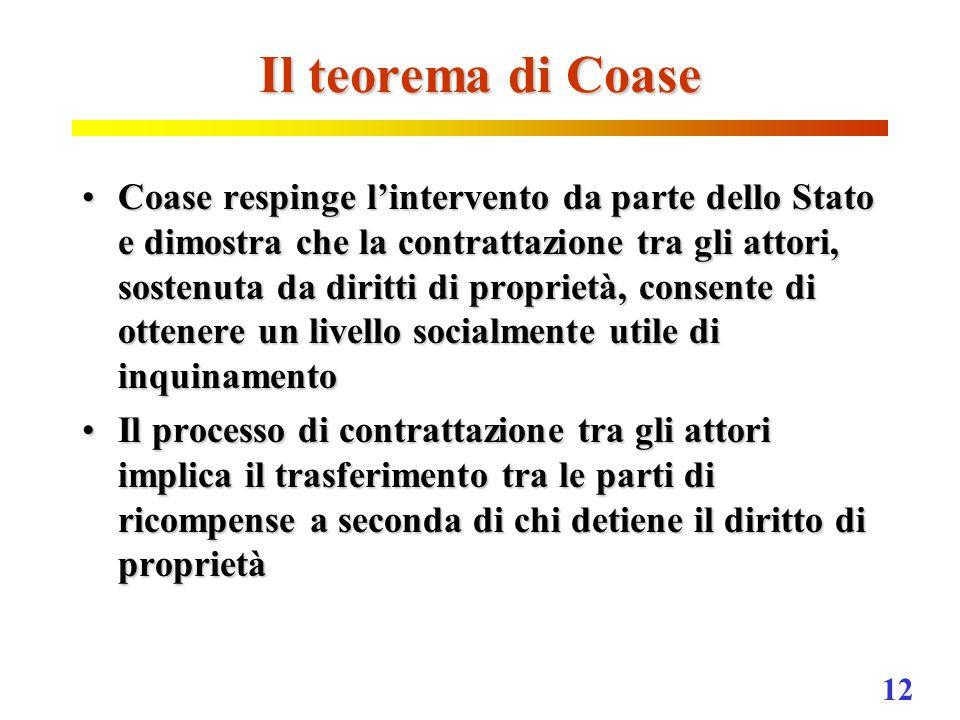 12 Il teorema di Coase Coase respinge lintervento da parte dello Stato e dimostra che la contrattazione tra gli attori, sostenuta da diritti di propri