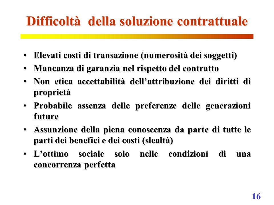 16 Difficoltà della soluzione contrattuale Elevati costi di transazione (numerosità dei soggetti)Elevati costi di transazione (numerosità dei soggetti