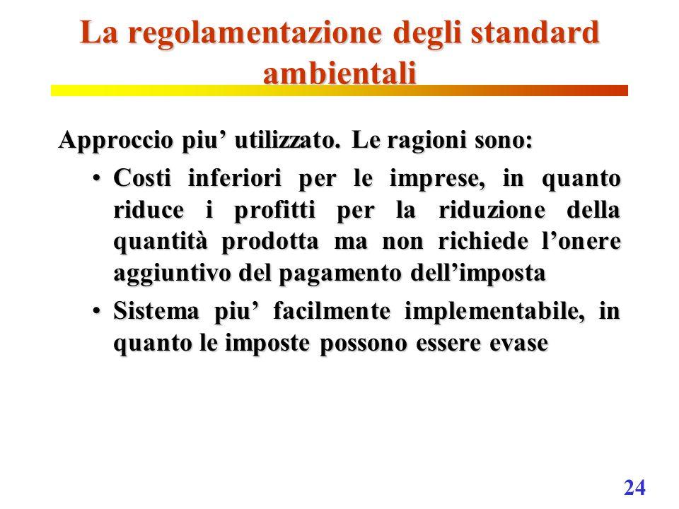 24 La regolamentazione degli standard ambientali Approccio piu utilizzato. Le ragioni sono: Costi inferiori per le imprese, in quanto riduce i profitt