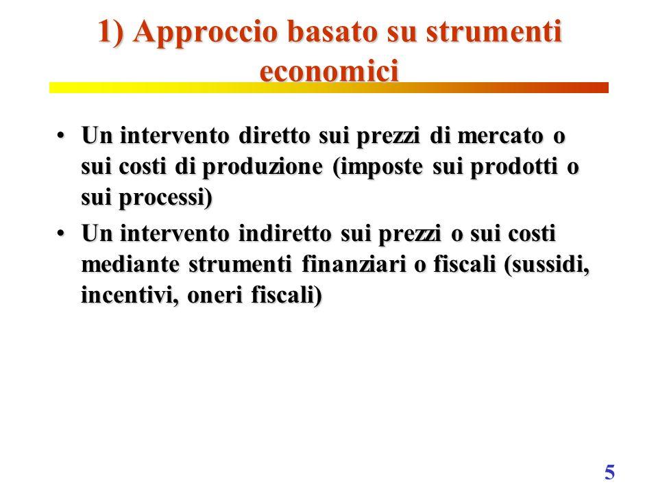 5 1) Approccio basato su strumenti economici Un intervento diretto sui prezzi di mercato o sui costi di produzione (imposte sui prodotti o sui process
