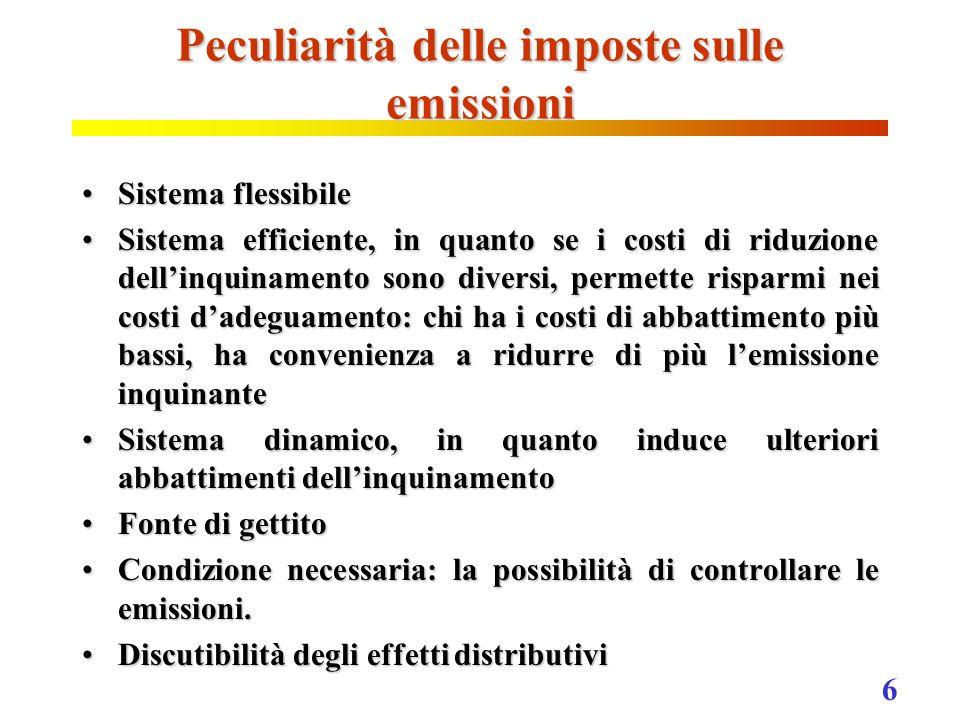 6 Peculiarità delle imposte sulle emissioni Sistema flessibileSistema flessibile Sistema efficiente, in quanto se i costi di riduzione dellinquinament