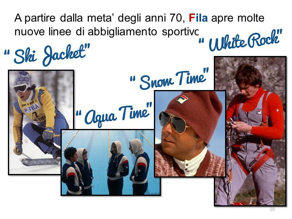 A partire dalla meta degli anni 70, Fila apre molte nuove linee di abbigliamento sportivo. 10