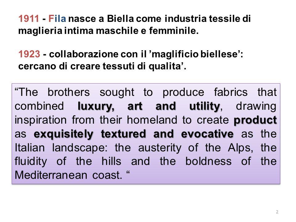 1911 - Fila nasce a Biella come industria tessile di maglieria intima maschile e femminile. 1923 - collaborazione con il maglificio biellese: cercano