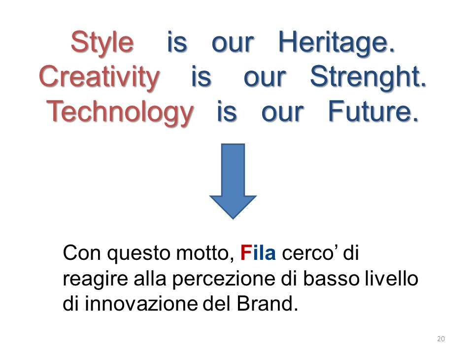 Style is our Heritage. Creativity is our Strenght. Technology is our Future. Con questo motto, Fila cerco di reagire alla percezione di basso livello