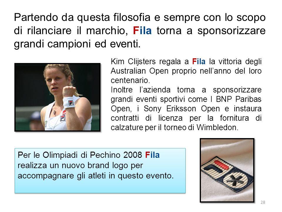 Partendo da questa filosofia e sempre con lo scopo di rilanciare il marchio, Fila torna a sponsorizzare grandi campioni ed eventi. Kim Clijsters regal