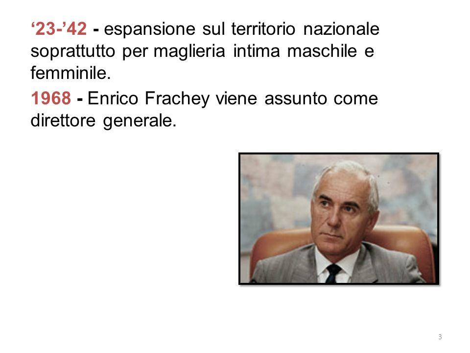 23-42 - espansione sul territorio nazionale soprattutto per maglieria intima maschile e femminile. 1968 - Enrico Frachey viene assunto come direttore