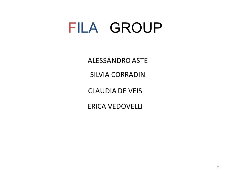 35 FILA GROUP ALESSANDRO ASTE SILVIA CORRADIN CLAUDIA DE VEIS ERICA VEDOVELLI