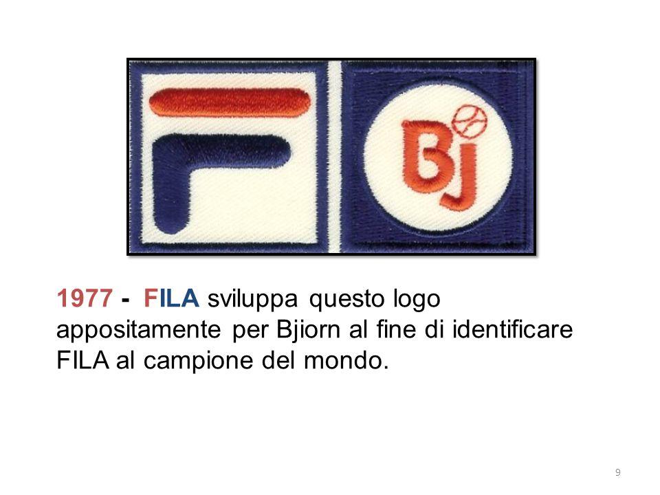1977 - FILA sviluppa questo logo appositamente per Bjiorn al fine di identificare FILA al campione del mondo. 9