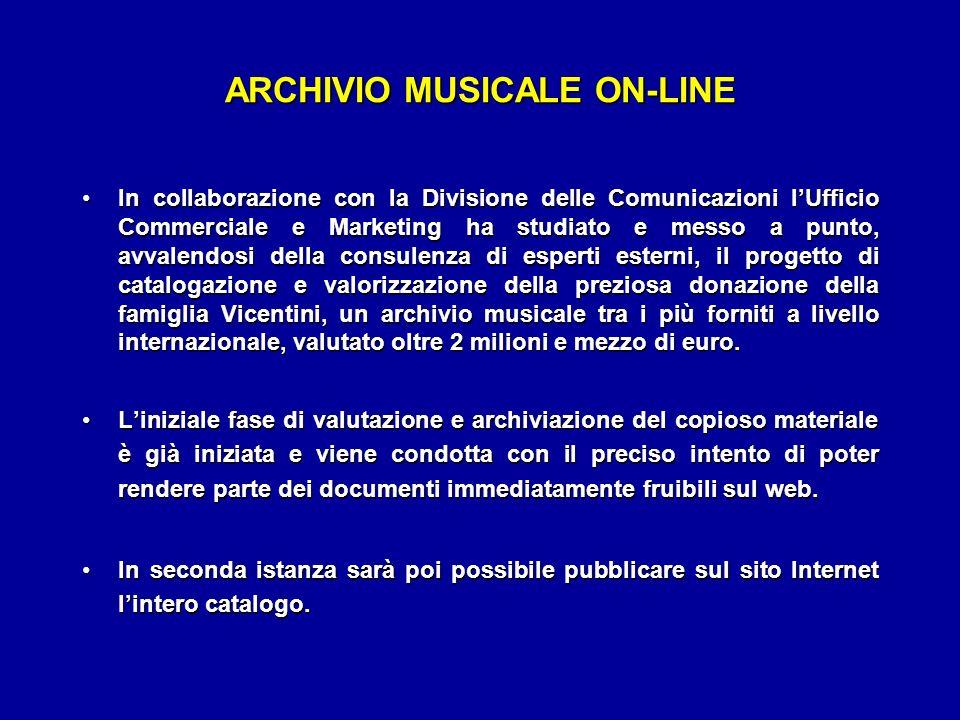 ARCHIVIO MUSICALE ON-LINE In collaborazione con la Divisione delle Comunicazioni lUfficio Commerciale e Marketing ha studiato e messo a punto, avvalen