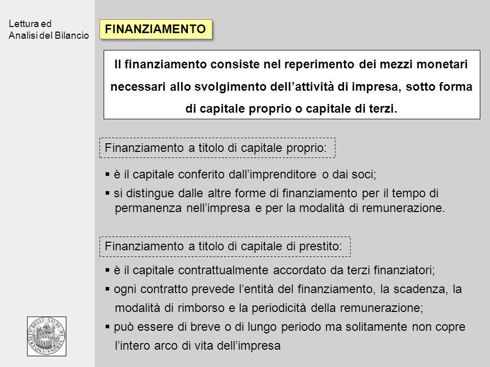Lettura ed Analisi del Bilancio FINANZIAMENTO Il finanziamento consiste nel reperimento dei mezzi monetari necessari allo svolgimento dellattività di impresa, sotto forma di capitale proprio o capitale di terzi.
