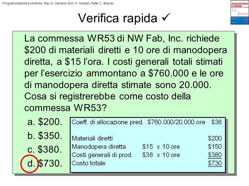 Programmazione e controllo - Ray H. Garrison, Eric W. Noreen, Peter C. Brewer Copyright © 2008 The McGraw-Hill Companies s.r.l. Verifica rapida La com