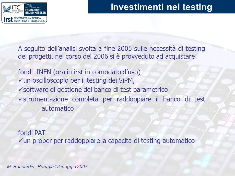 M. Boscardin, Perugia 13 maggio 2007 A seguito dellanalisi svolta a fine 2005 sulle necessità di testing dei progetti, nel corso del 2006 si è provved