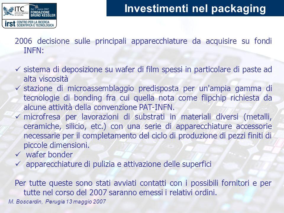 M. Boscardin, Perugia 13 maggio 2007 2006 decisione sulle principali apparecchiature da acquisire su fondi INFN: sistema di deposizione su wafer di fi