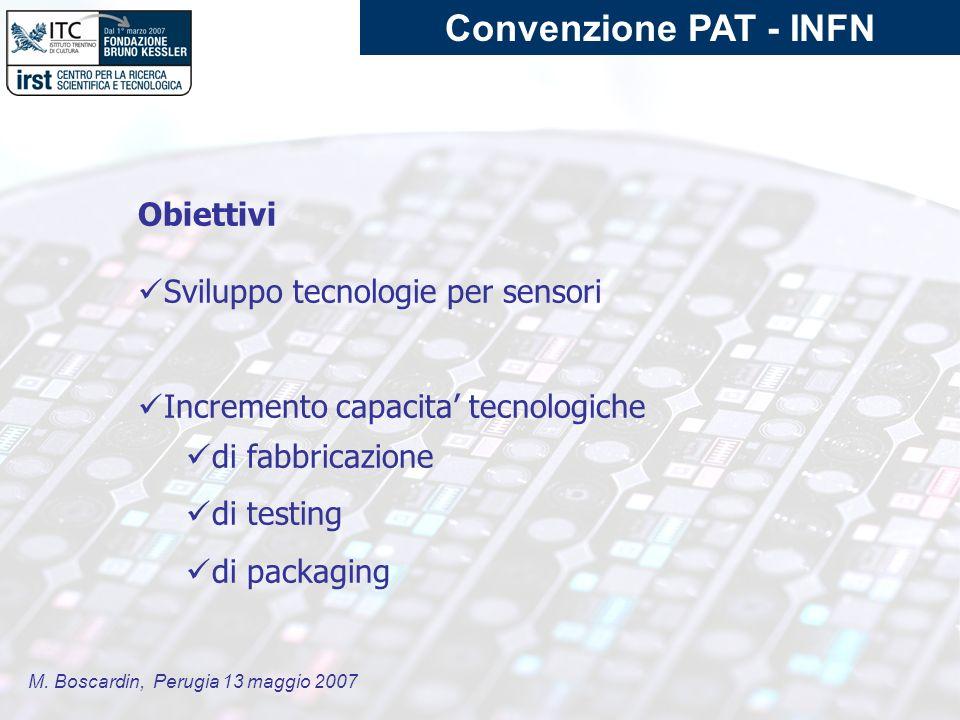 M. Boscardin, Perugia 13 maggio 2007 Obiettivi Sviluppo tecnologie per sensori Incremento capacita tecnologiche di fabbricazione di testing di packagi