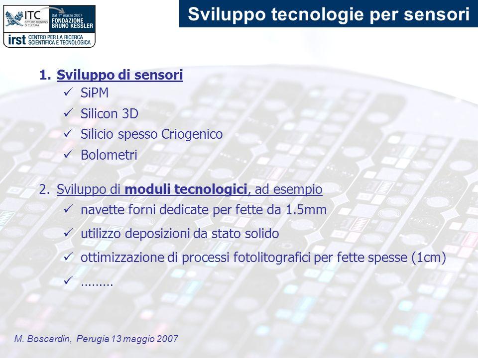M. Boscardin, Perugia 13 maggio 2007 Sviluppo tecnologie per sensori 1.Sviluppo di sensori SiPM Silicon 3D Silicio spesso Criogenico Bolometri 2.Svilu