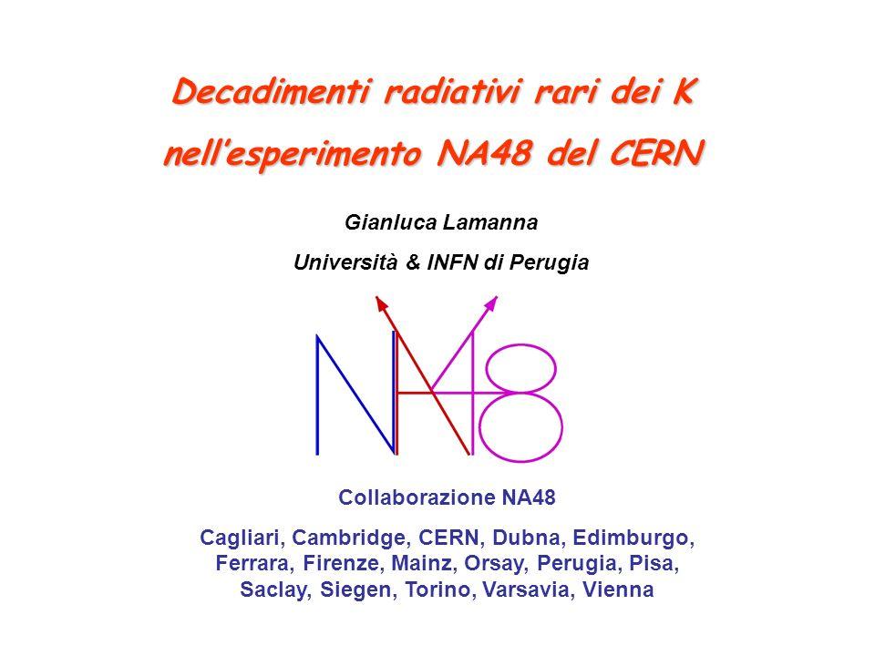 Decadimenti radiativi rari dei K nellesperimento NA48 del CERN Collaborazione NA48 Cagliari, Cambridge, CERN, Dubna, Edimburgo, Ferrara, Firenze, Main