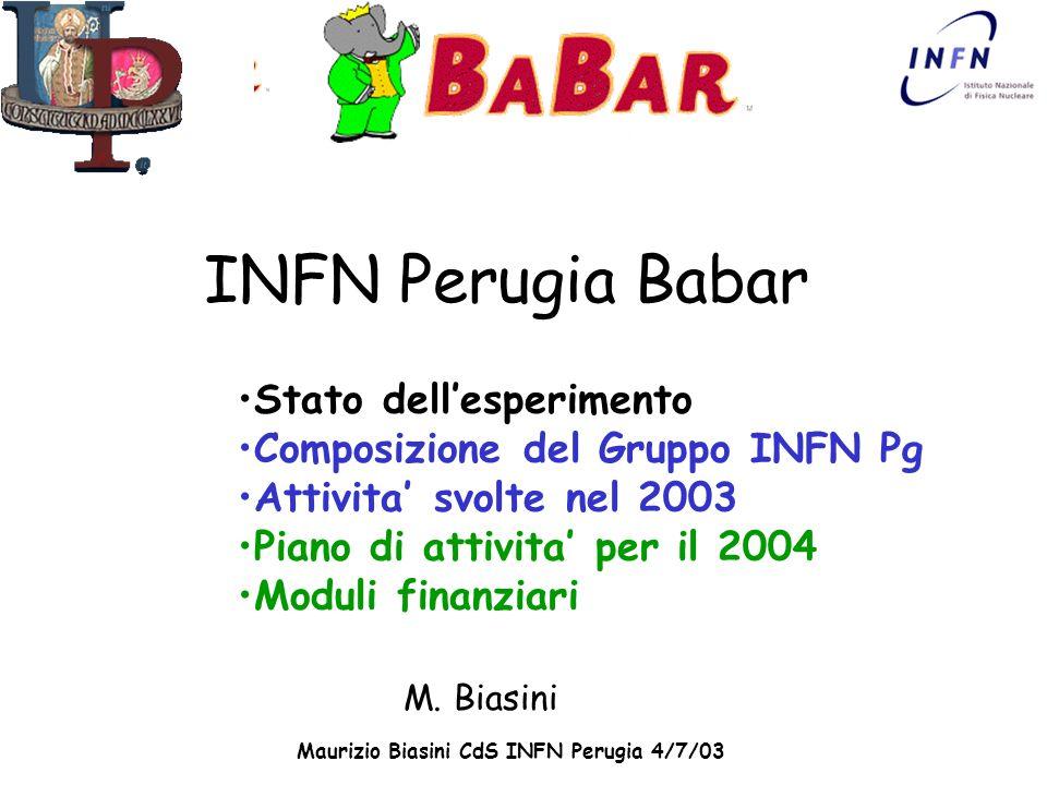 Maurizio Biasini CdS INFN Perugia 4/7/03 INFN Perugia Babar M. Biasini Stato dellesperimento Composizione del Gruppo INFN Pg Attivita svolte nel 2003
