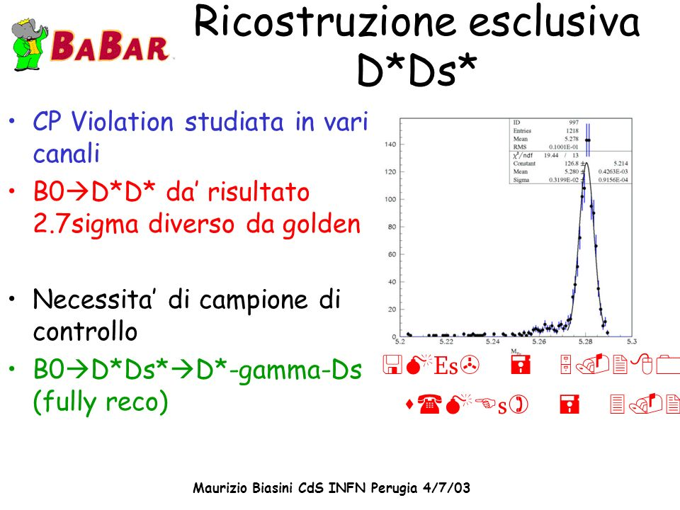 Maurizio Biasini CdS INFN Perugia 4/7/03 Ricostruzione esclusiva D*Ds* CP Violation studiata in vari canali B0 D*D* da risultato 2.7sigma diverso da g