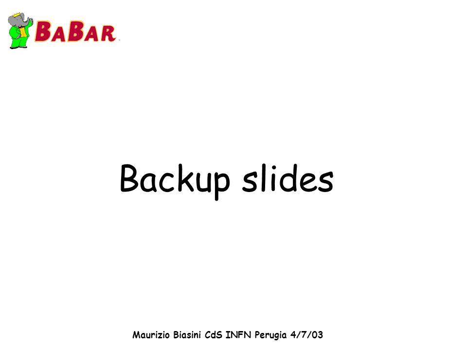 Maurizio Biasini CdS INFN Perugia 4/7/03 Backup slides