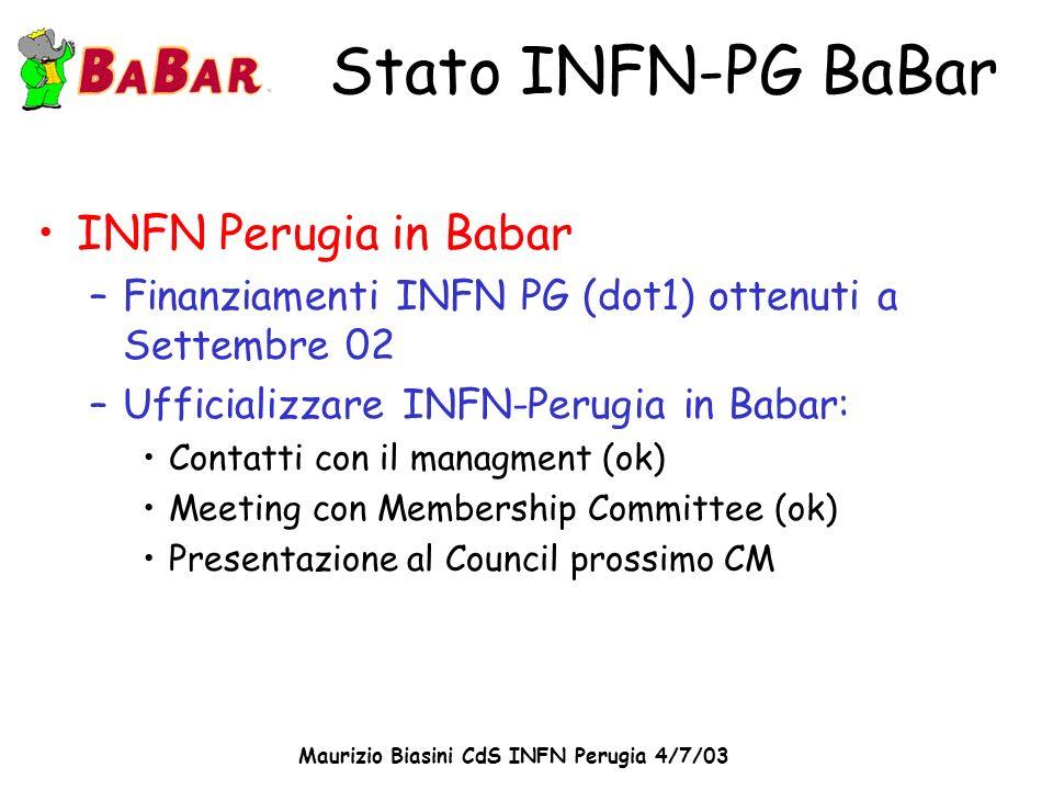 Maurizio Biasini CdS INFN Perugia 4/7/03 Composizione del gruppo M.
