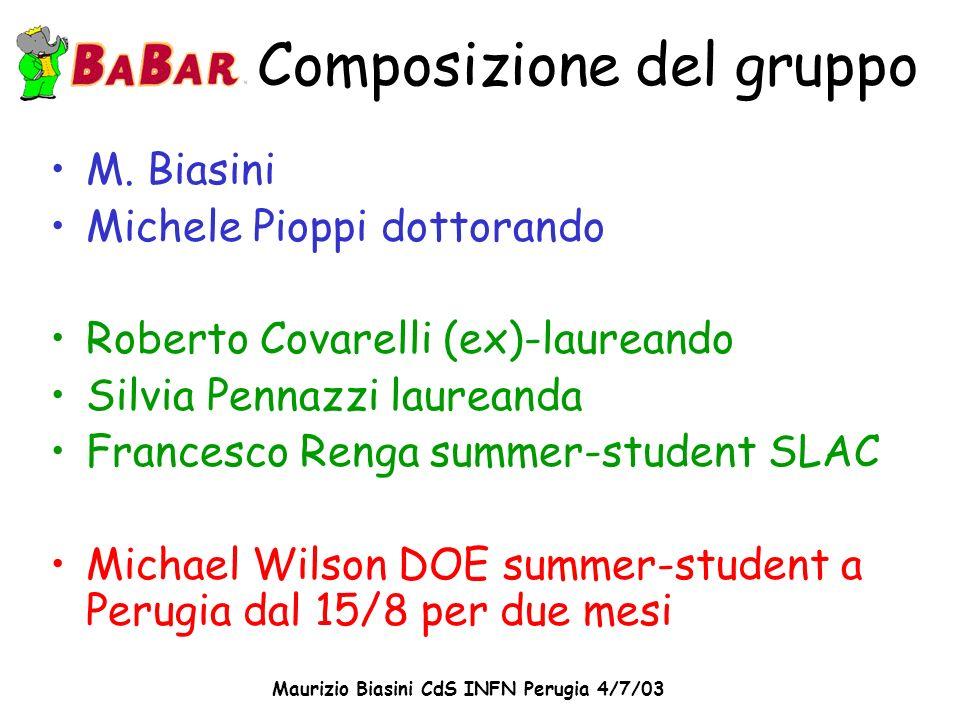 Maurizio Biasini CdS INFN Perugia 4/7/03 Composizione del gruppo M. Biasini Michele Pioppi dottorando Roberto Covarelli (ex)-laureando Silvia Pennazzi
