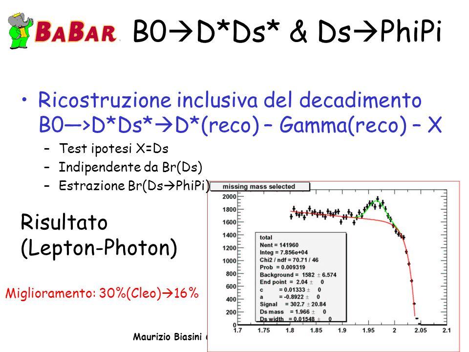 Maurizio Biasini CdS INFN Perugia 4/7/03 B0 D*Ds* & Ds PhiPi Ricostruzione inclusiva del decadimento B0>D*Ds* D*(reco) – Gamma(reco) – X –Test ipotesi