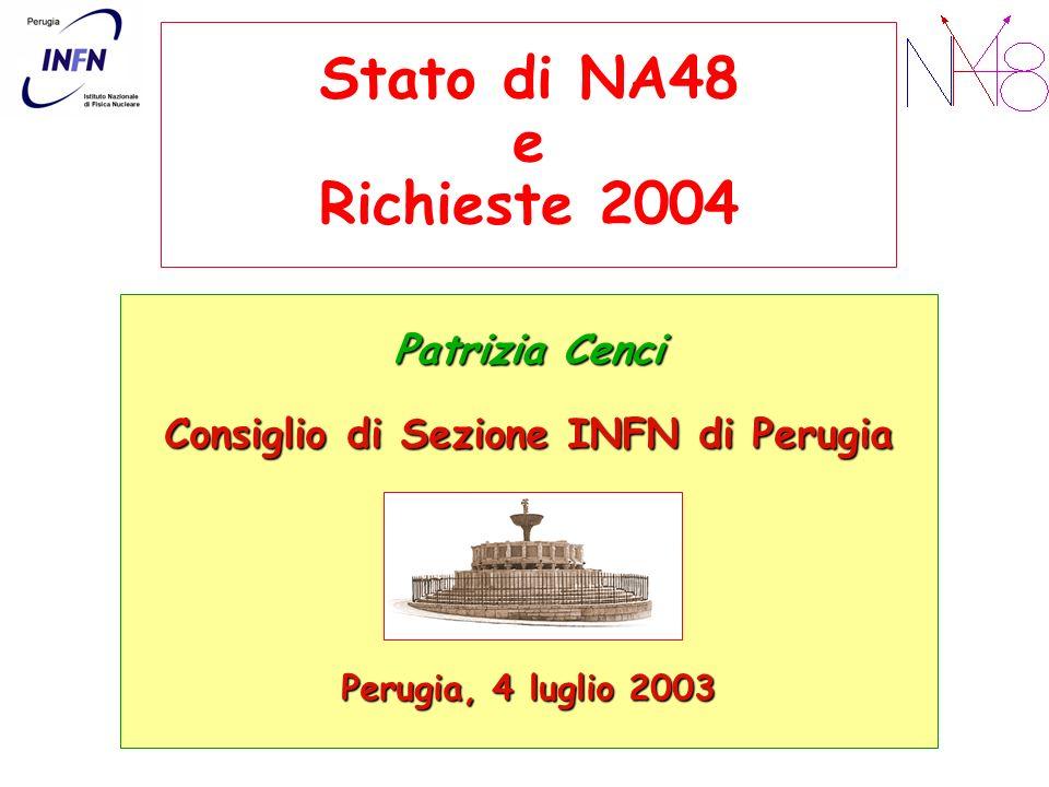 Stato di NA48 e Richieste 2004 Patrizia Cenci Consiglio di Sezione INFN di Perugia Perugia, 4 luglio 2003