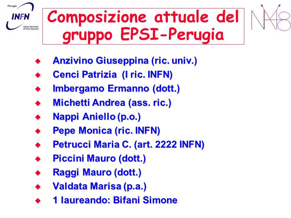 Composizione attuale del gruppo EPSI-Perugia Anzivino Giuseppina (ric. univ.) Anzivino Giuseppina (ric. univ.) Cenci Patrizia (I ric. INFN) Cenci Patr