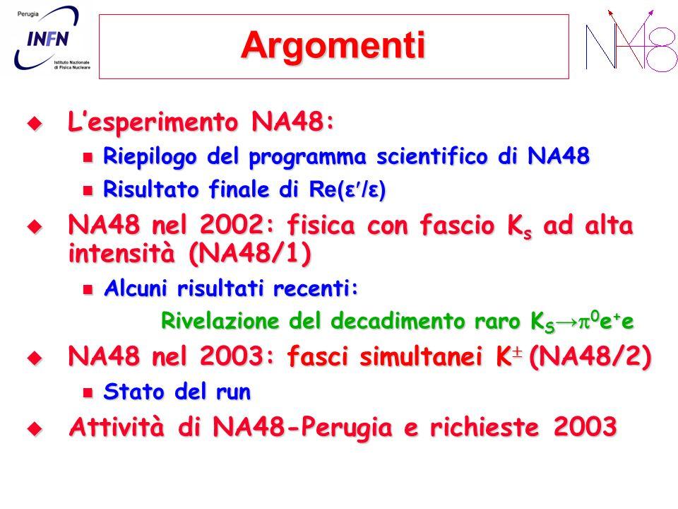 Argomenti Lesperimento NA48: Lesperimento NA48: Riepilogo del programma scientifico di NA48 Riepilogo del programma scientifico di NA48 Risultato finale di Re(ε /ε) Risultato finale di Re(ε /ε) NA48 nel 2002: fisica con fascio K s ad alta intensità (NA48/1) NA48 nel 2002: fisica con fascio K s ad alta intensità (NA48/1) Alcuni risultati recenti: Alcuni risultati recenti: Rivelazione del decadimento raro K S 0 e + e NA48 nel 2003: fasci simultanei K (NA48/2) NA48 nel 2003: fasci simultanei K (NA48/2) Stato del run Stato del run Attività di NA48-Perugia e richieste 2003 Attività di NA48-Perugia e richieste 2003