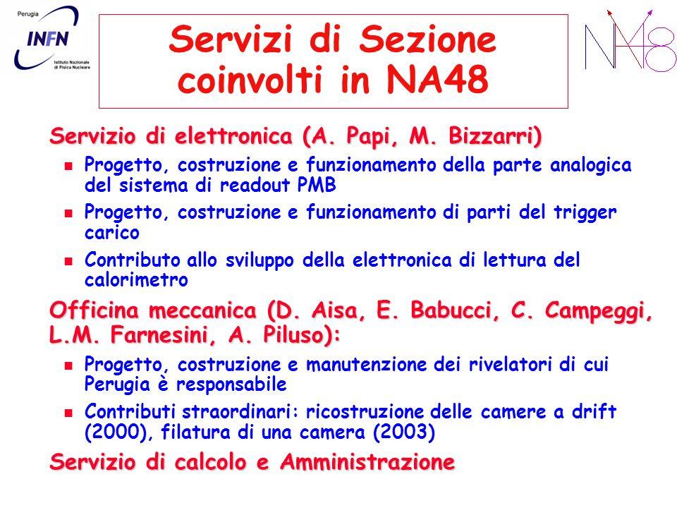Servizi di Sezione coinvolti in NA48 Servizio di elettronica (A. Papi, M. Bizzarri) Progetto, costruzione e funzionamento della parte analogica del si