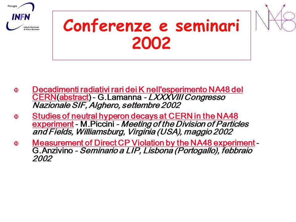 Conferenze e seminari 2002 Decadimenti radiativi rari dei K nell'esperimento NA48 del CERN(abstract) - G.Lamanna - LXXXVIII Congresso Nazionale SIF, A