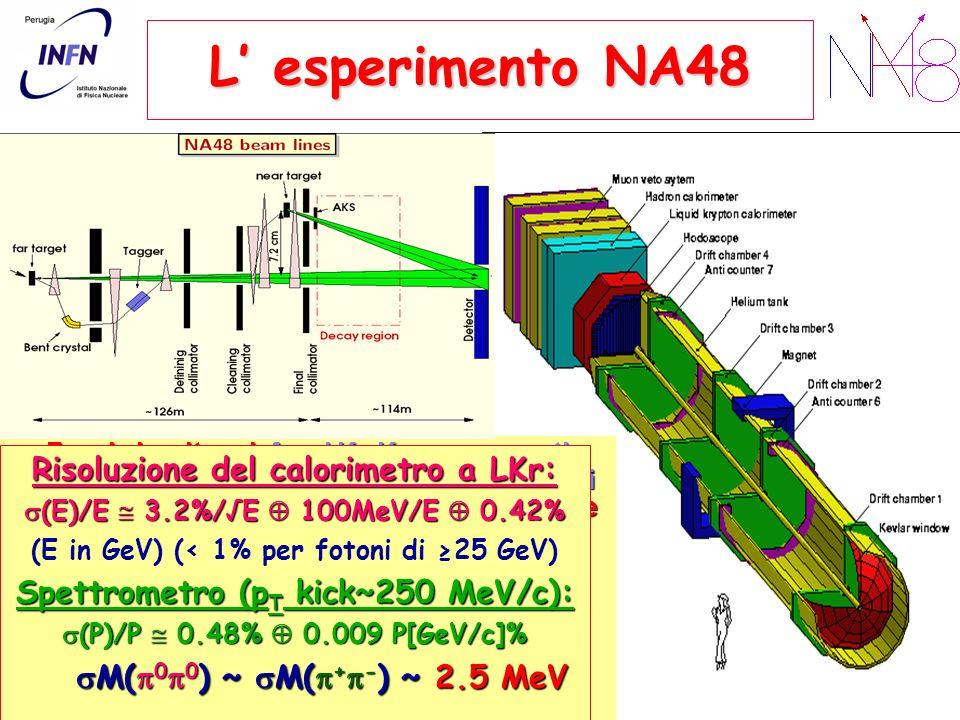 L esperimento NA48 Fasci simultanei: fasci K L -K S convergenti, stesso fascio di protoni (10 12 ppp), bersagli di Be far (K L ) e near (K S ), identi