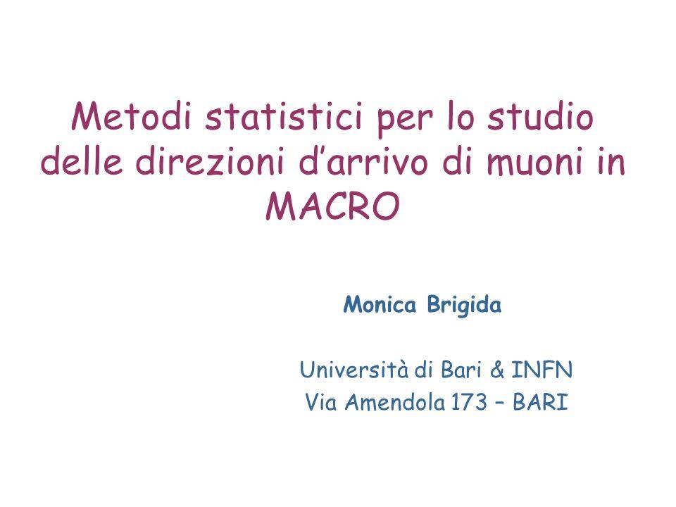 Metodi statistici per lo studio delle direzioni darrivo di muoni in MACRO Monica Brigida Università di Bari & INFN Via Amendola 173 – BARI