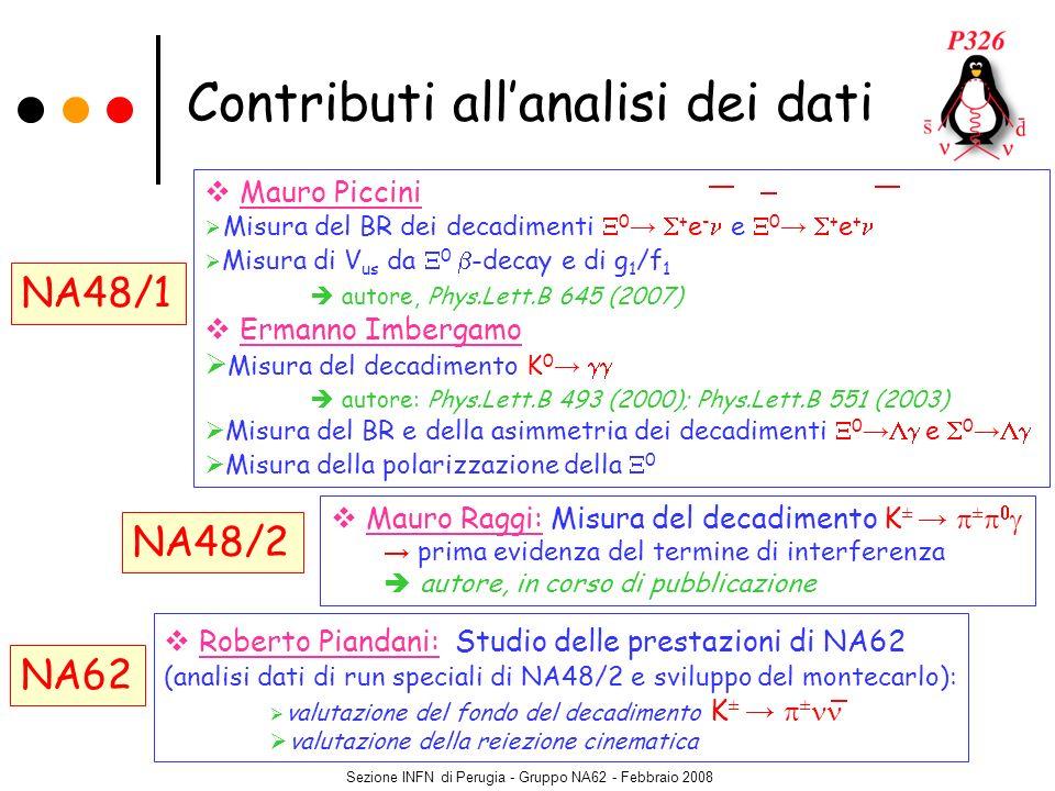 Sezione INFN di Perugia - Gruppo NA62 - Febbraio 2008 Contributi allanalisi dei dati Mauro Raggi: Misura del decadimento K ± prima evidenza del termin