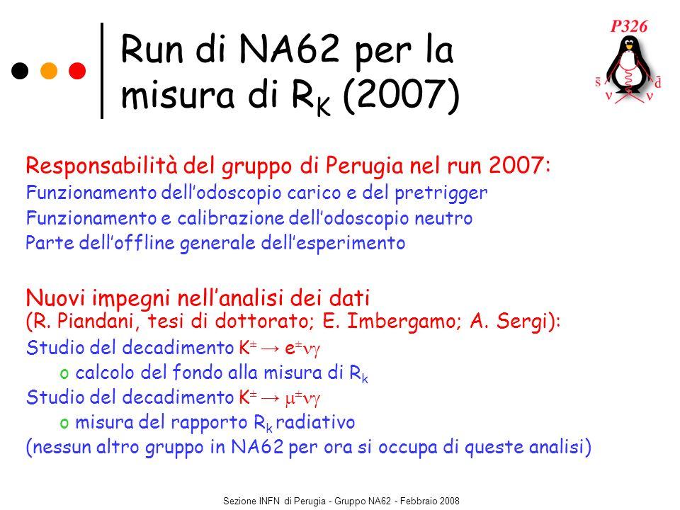 Sezione INFN di Perugia - Gruppo NA62 - Febbraio 2008 Run di NA62 per la misura di R K (2007) Responsabilità del gruppo di Perugia nel run 2007: Funzi