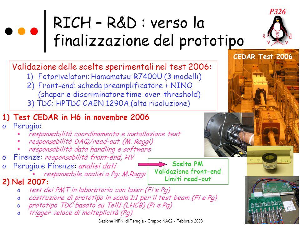Sezione INFN di Perugia - Gruppo NA62 - Febbraio 2008 1)Test CEDAR in H6 in novembre 2006 oPerugia: responsabilità coordinamento e installazione test