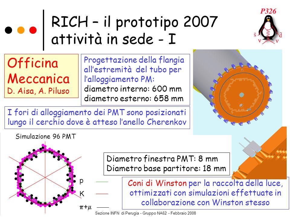 Sezione INFN di Perugia - Gruppo NA62 - Febbraio 2008 RICH – il prototipo 2007 attività in sede - I Officina Meccanica D. Aisa, A. Piluso I fori di al