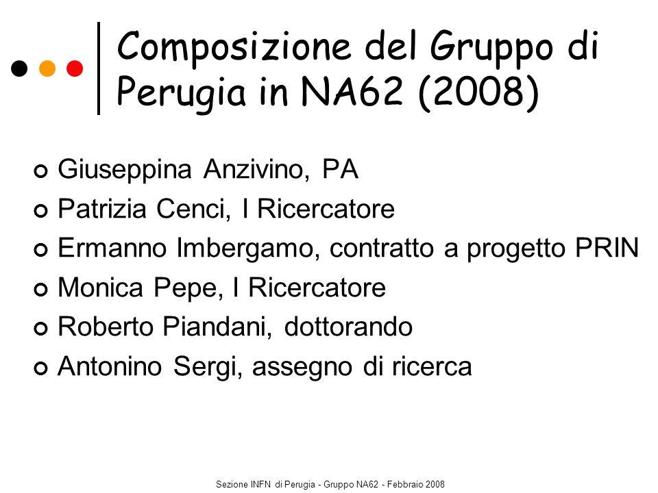 Sezione INFN di Perugia - Gruppo NA62 - Febbraio 2008 Componenti del Gruppo di Perugia in NA48 o NA62 negli ultimi 3 anni Giuseppina Anzivino (NA48, NA62) Simone Bifani (borsista Marie Curie, Università di Berna) Patrizia Cenci (NA48, NA62) Ermanno Imbergamo (NA48, NA62) Aniello Nappi (NA48, CMS) Monica Pepe (NA48, GLAST, NA62) Roberto Piandani (NA62) Mauro Piccini (fellow CERN, NA62) Mauro Raggi (assegno di ricerca INFN a LNF, NA62) Antonino Sergi (NA62) Marisa Valdata (NA48, CMS)