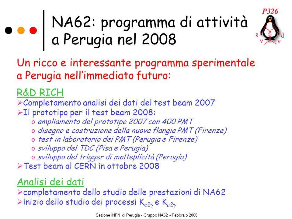 Sezione INFN di Perugia - Gruppo NA62 - Febbraio 2008 NA62: programma di attività a Perugia nel 2008 Un ricco e interessante programma sperimentale a